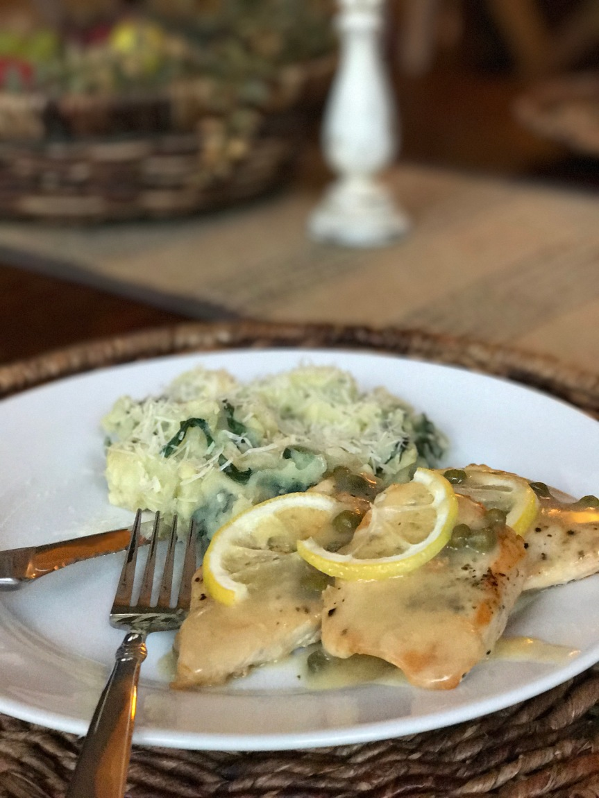 Lemon Caper Chicken with Dairy-free Spinach Artichoke Mashed Potatoes