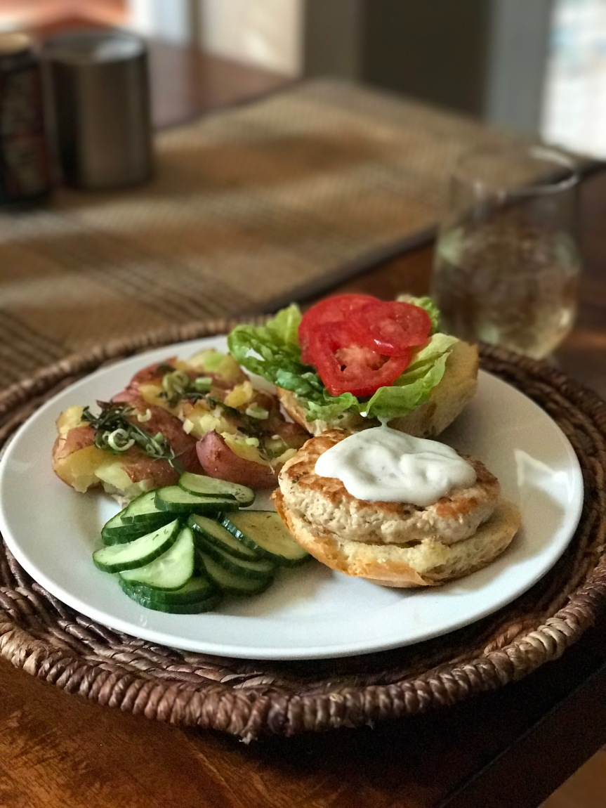 Turkey Burgers with Dairy-free Ranch Dressing, Smashed & Herbed Red Potatoes, and Cucumber Salad